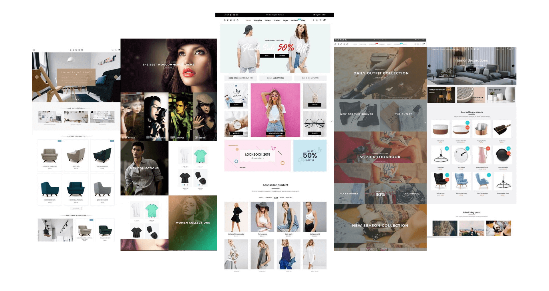 A variety of homepage designs in one theme package