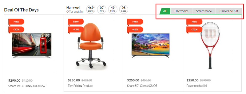 products slider choose from whole store or categories