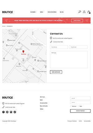 Contact Page of Boutique